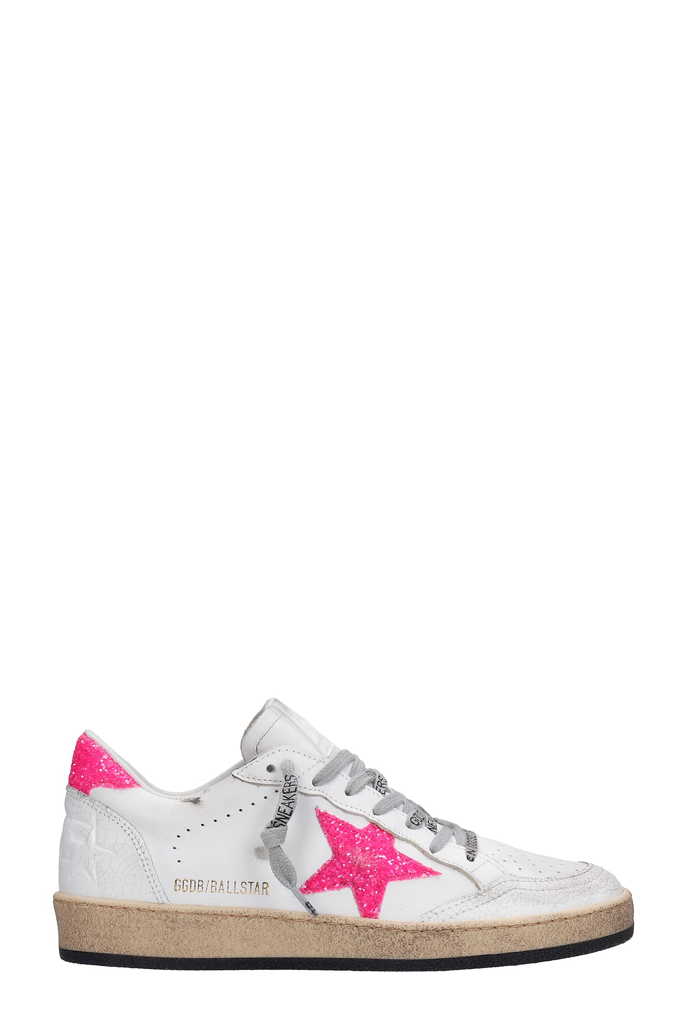 Buy Golden Goose Ball Star Sneakers In White Leather online, shop Golden Goose shoes with free shipping