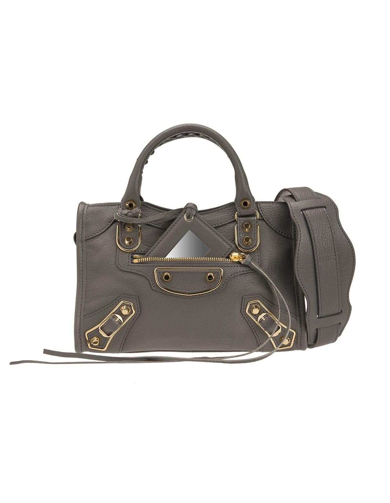 Grey Classic Metallic Edge Mini City Bag