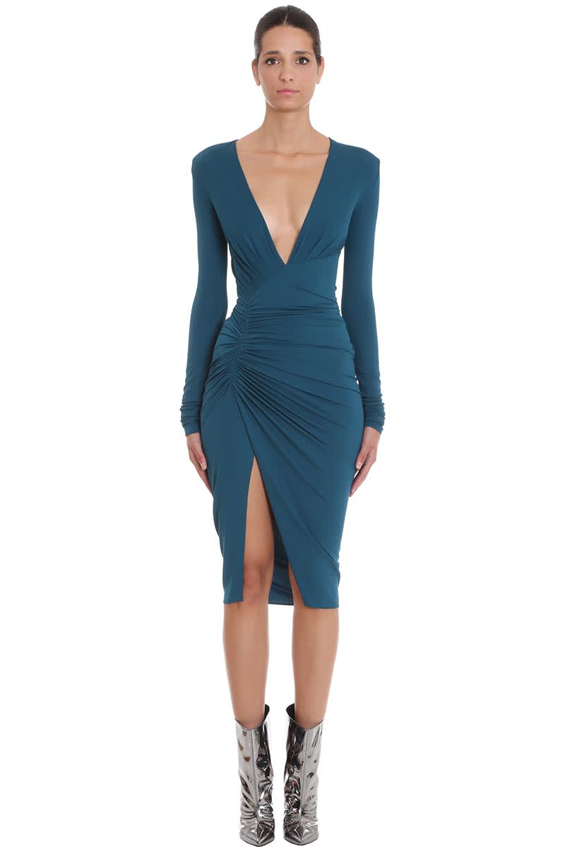 Alexandre Vauthier Dress In Petroleum Viscose