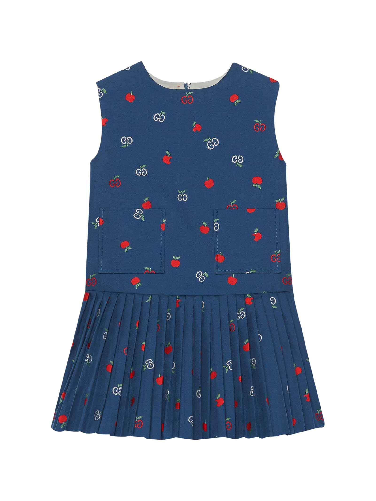 Buy Gucci Blue Girl Dress online, shop Gucci with free shipping