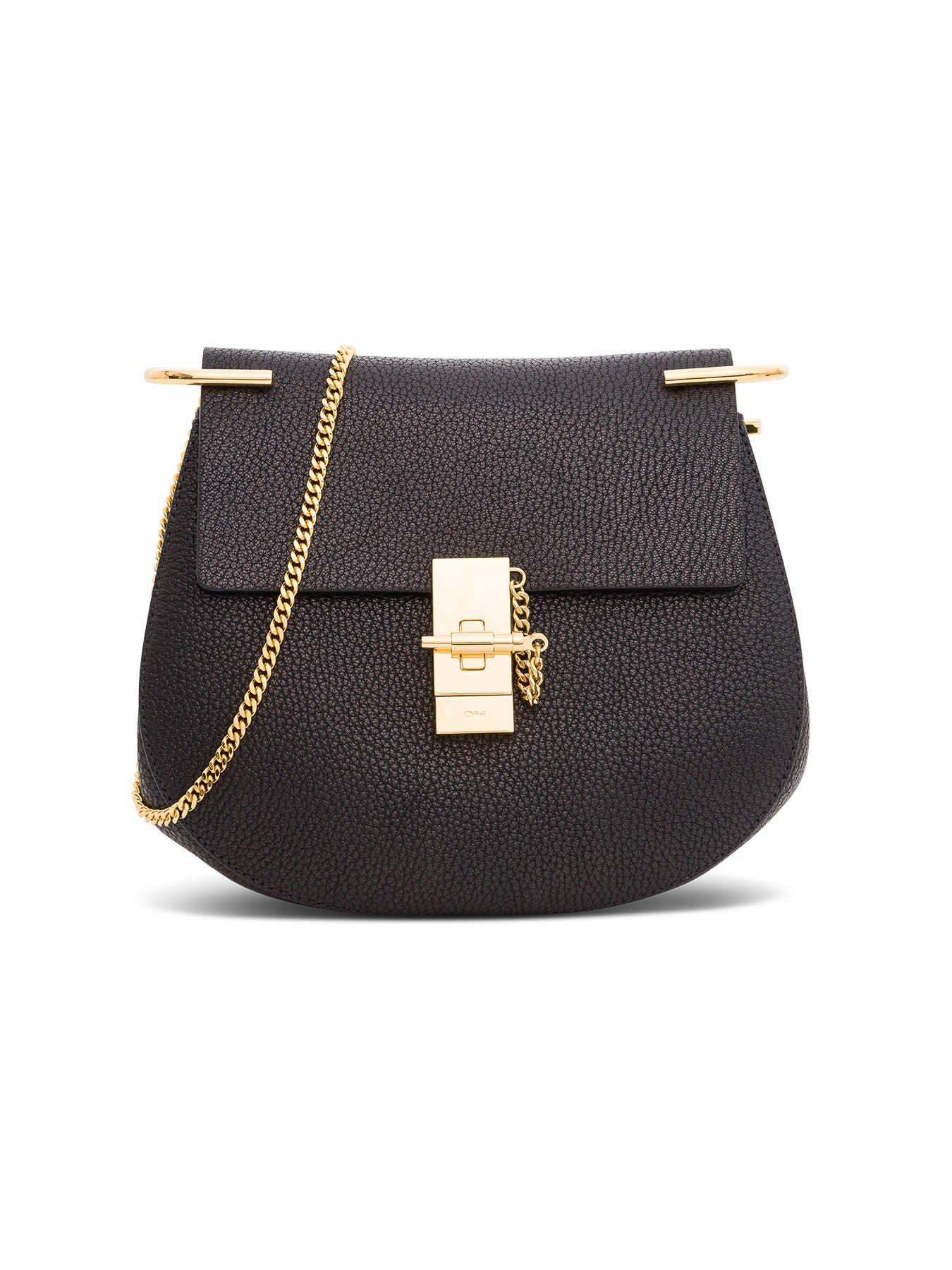 Crossbody bag Black Leather Single compartment Jewel closure Internal flat pocket Golden brass finish Chain shoulder strap Dimensions: 23x21x8 cm Shoulder strap length: 52 cmComposition: 100% Leather