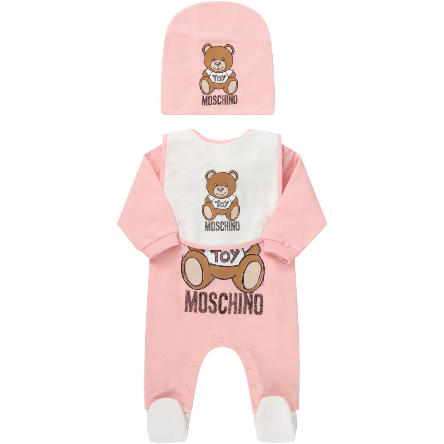 Moschino PINK SET FOR BABYGIRL WITH TEDDY BEAR