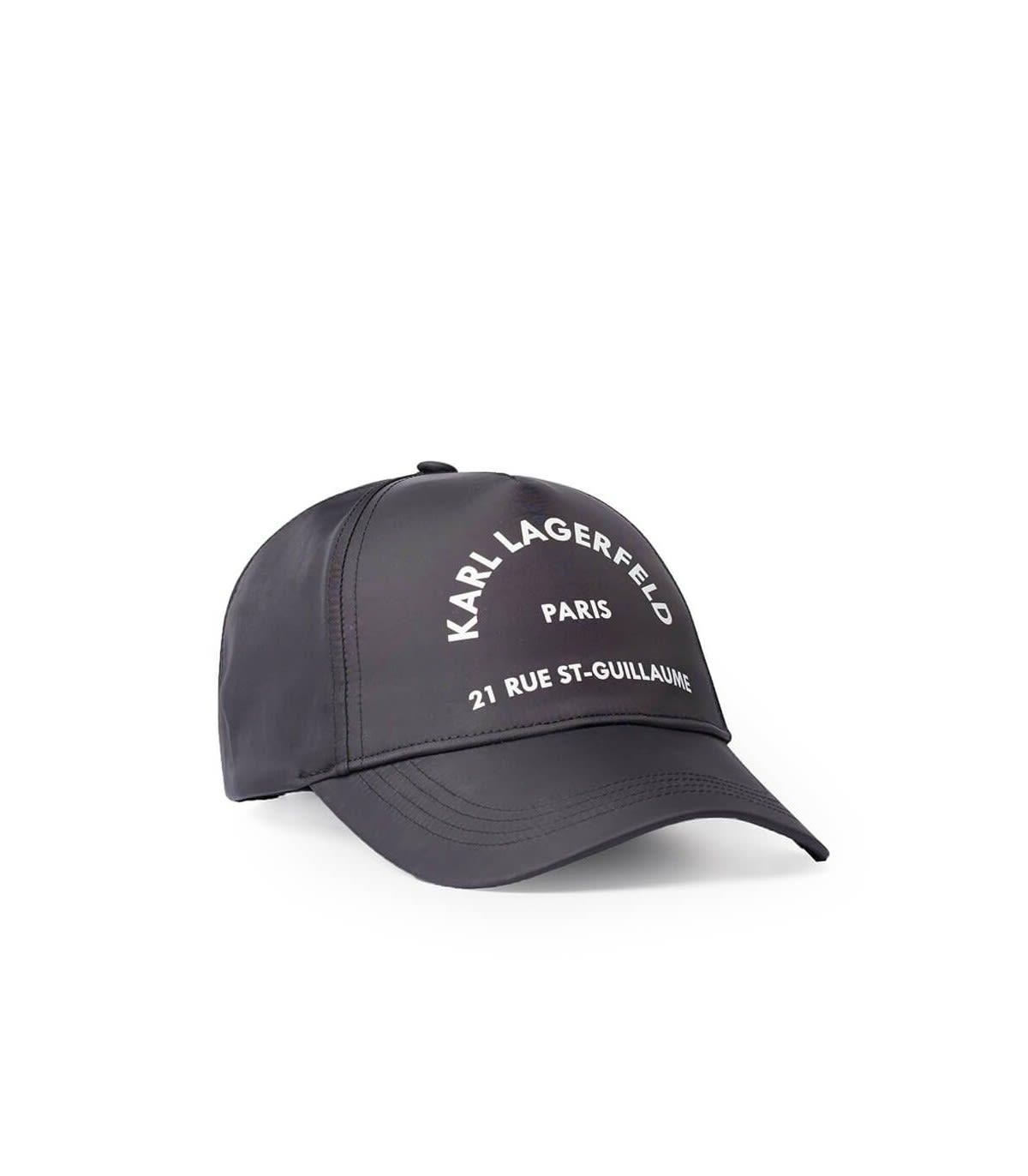 Karl Lagerfeld Accessories BLACK RUE ST. GUILLAUME BASEBALL CAP