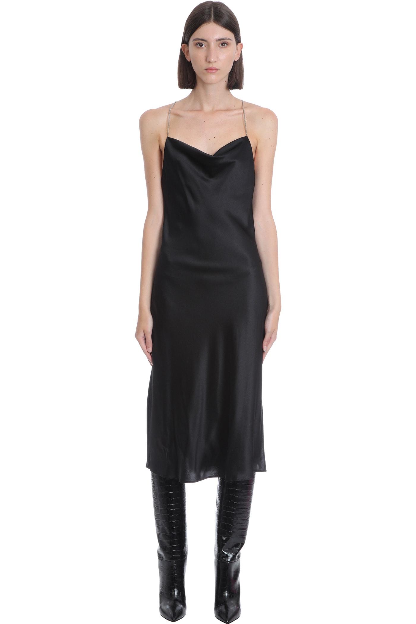 Gala Chain Dress In Black Silk