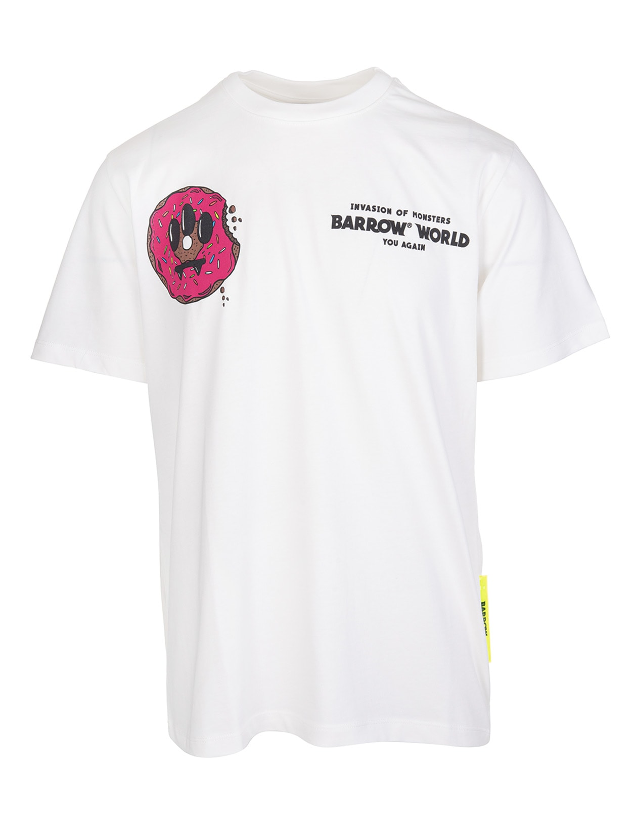 Barrow White T-shirt With Donuts Logo Print In Off White