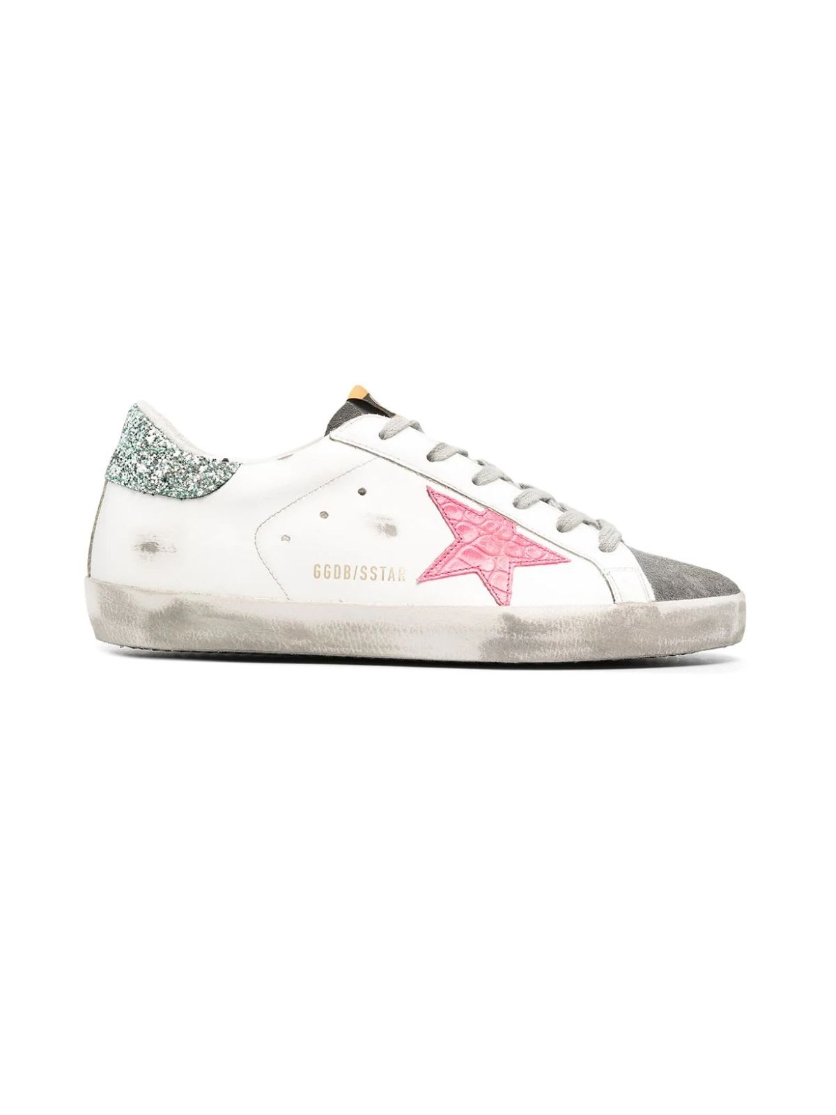 Golden Goose SUPER-STAR LEATHER UPPER COCCO PRINT STAR GLITTER HEEL