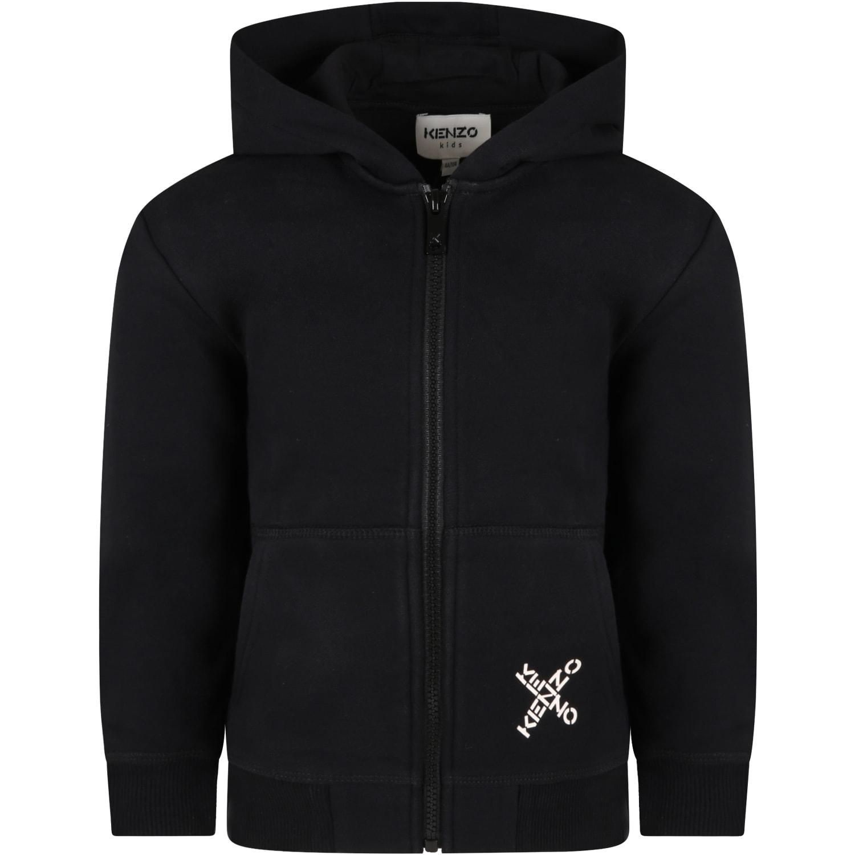 Black Sweatshirt For Kids With Logos
