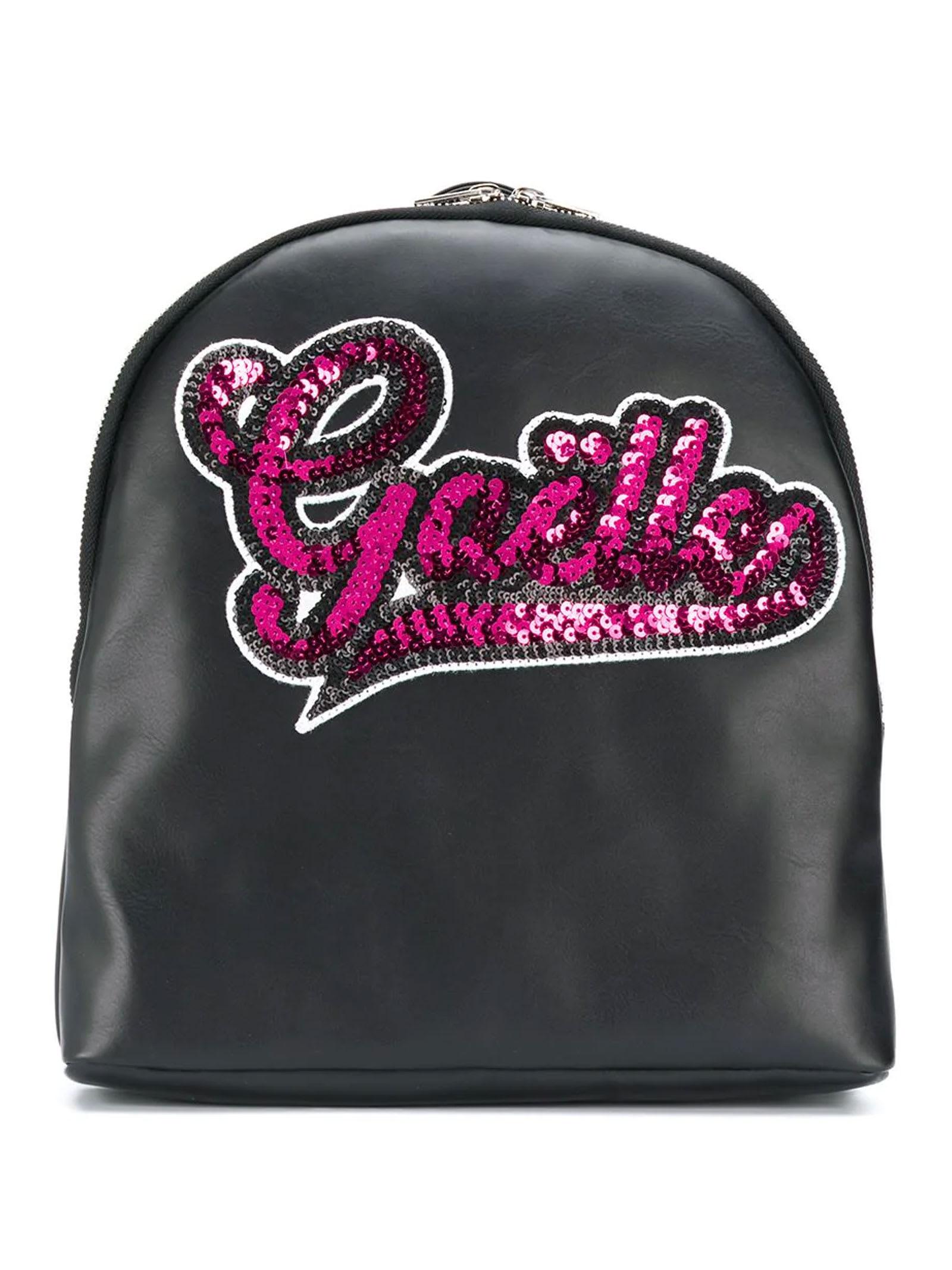 Black Backpack Wth Pink Paillettes Logo Paris Kids