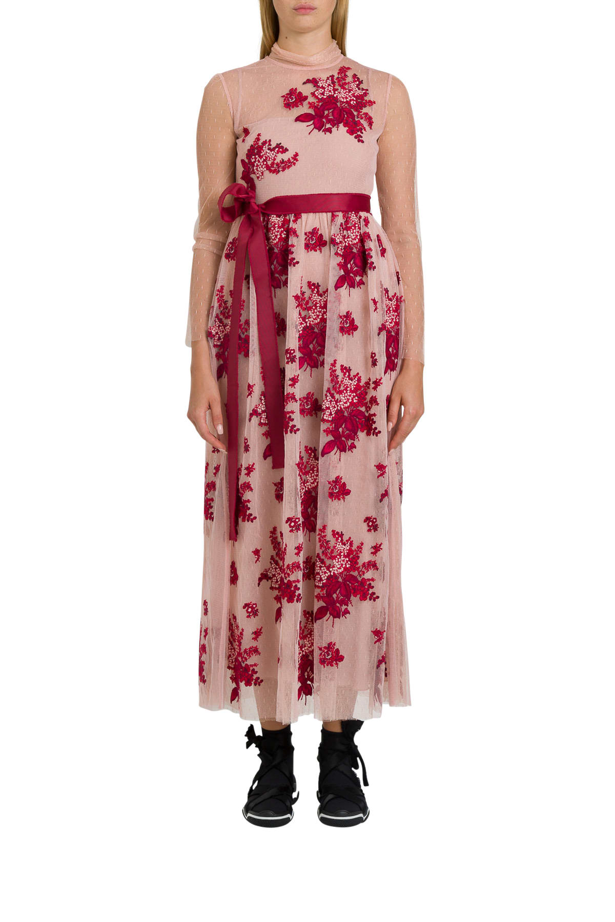 RED Valentino Floral Tapestry Embroidered Point Despirit Maxi Dress
