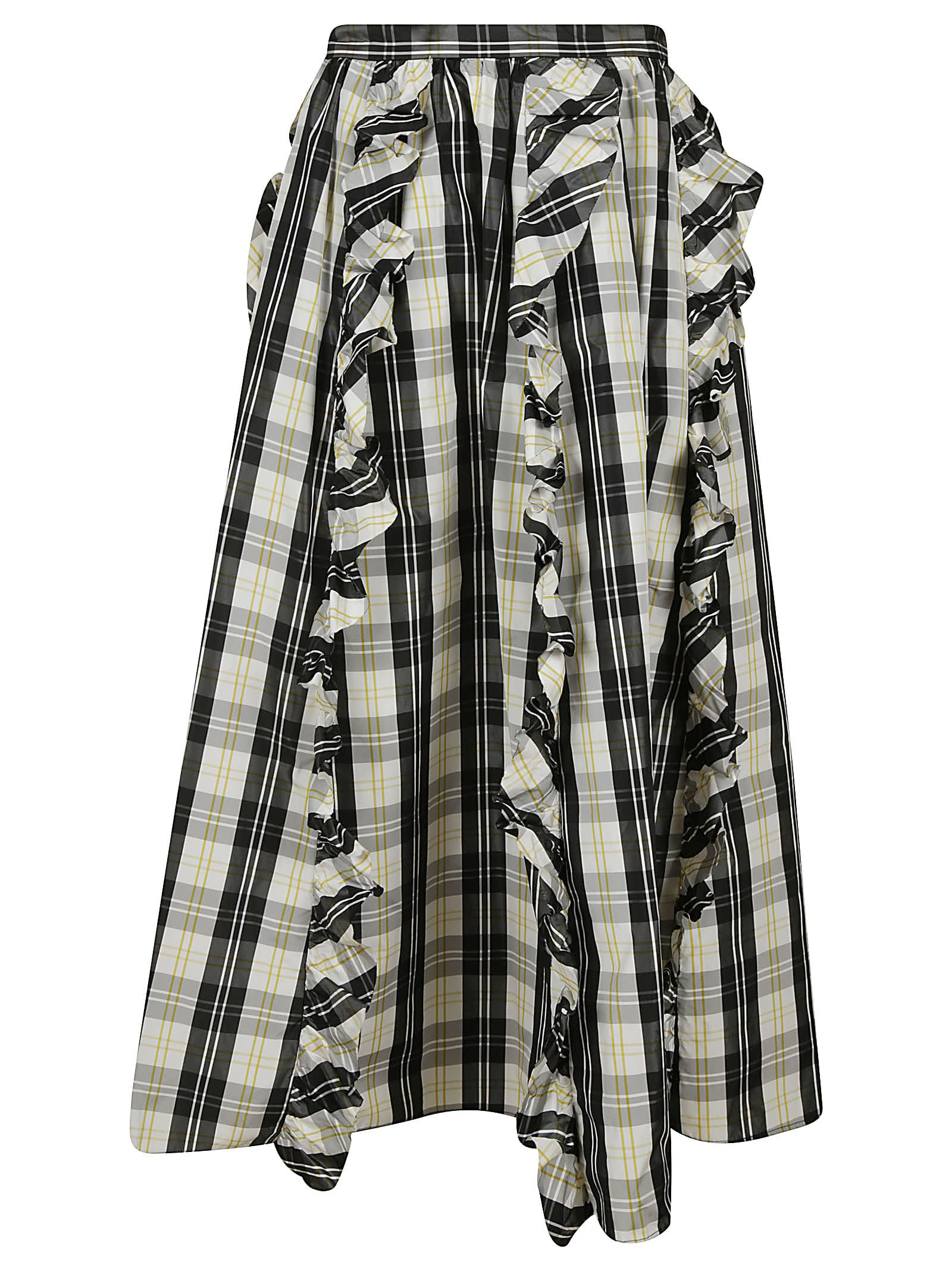 RED Valentino Ruffle Applique Checked Skirt