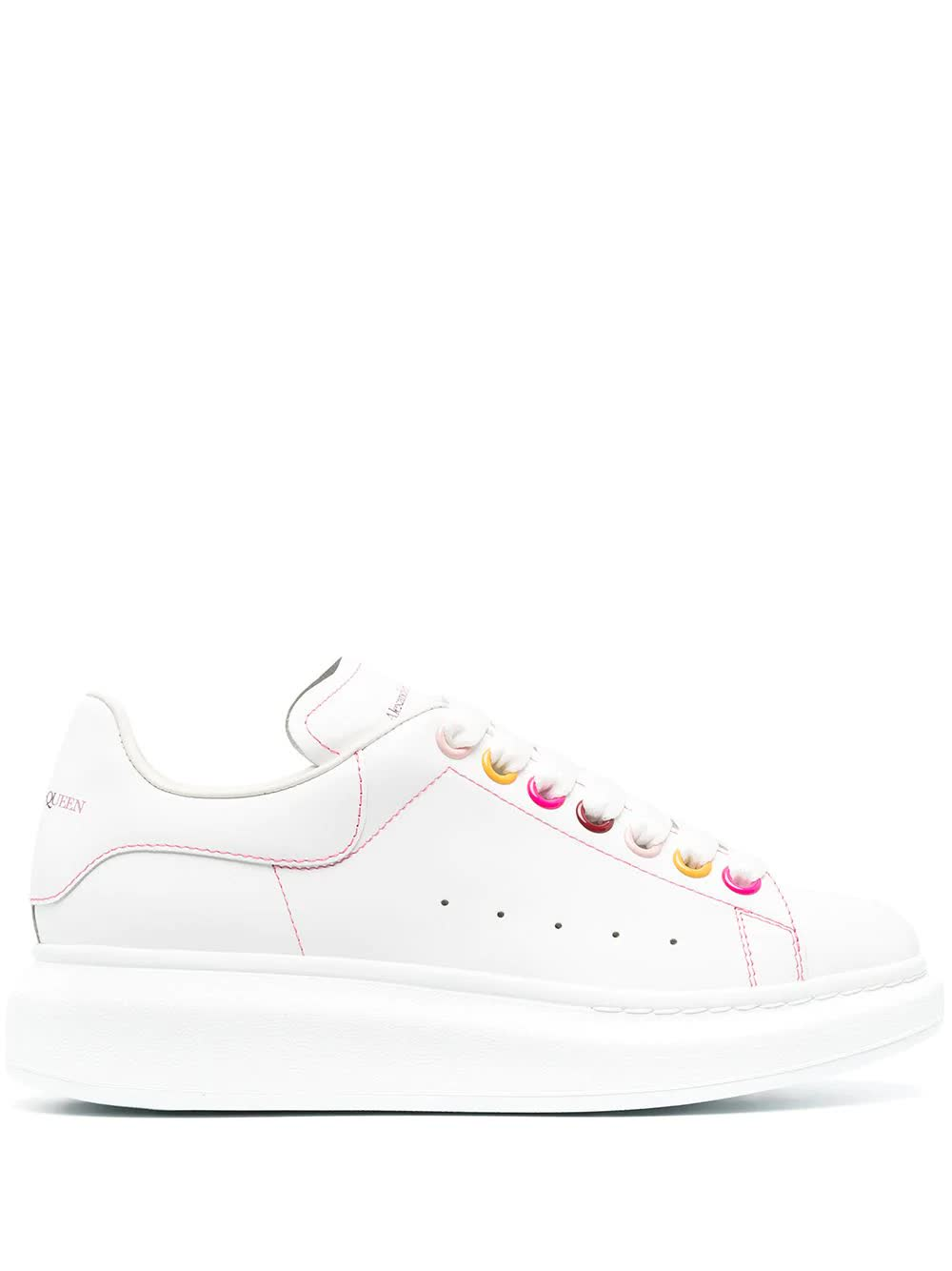 Buy Alexander McQueen Woman White Oversize Sneakers With Multicolor Eyelets online, shop Alexander McQueen shoes with free shipping