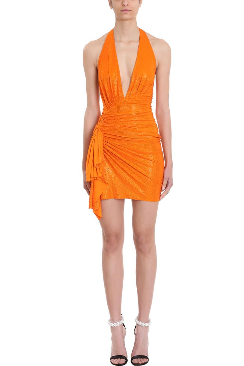 Alexandre Vauthier Crystalized Tangerine Mini Dress