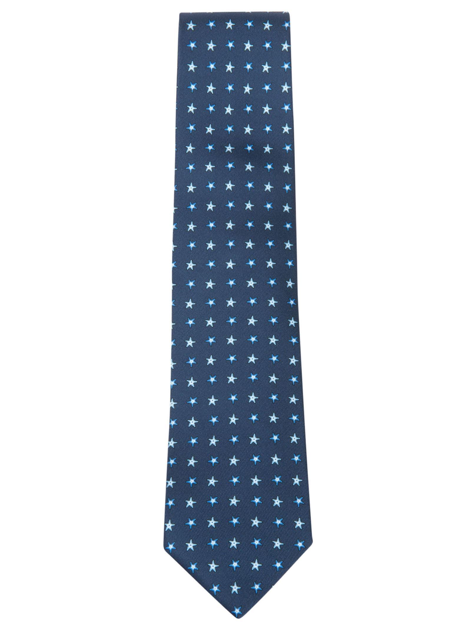 Star Motif Print Neck Tie