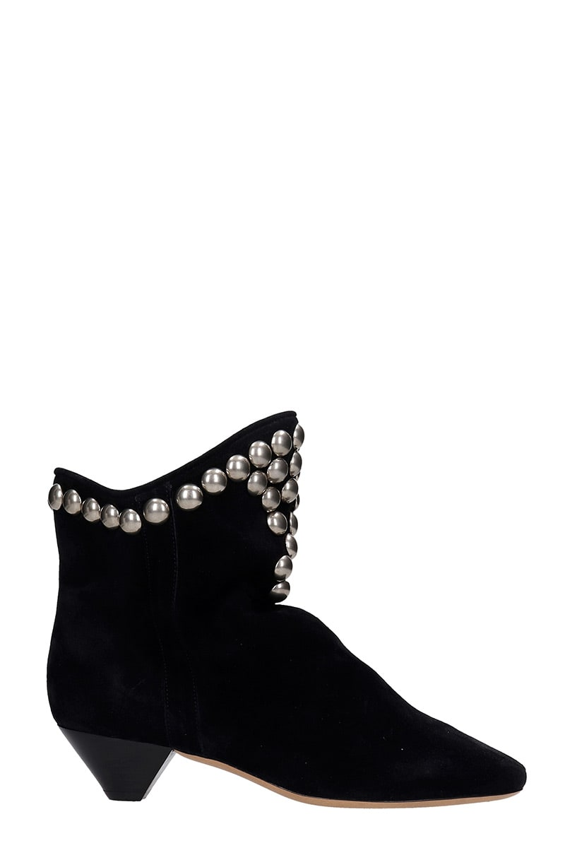 Isabel Marant Doey Low Heels Ankle Boots In Black Suede