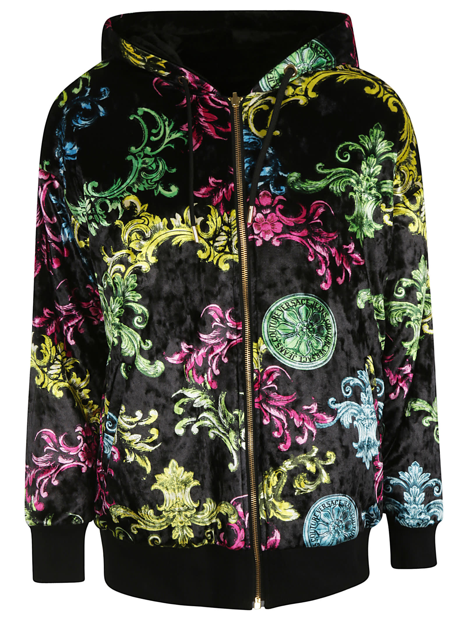 Versace Jeans Couture Velvet Print Color Baroque Bomber