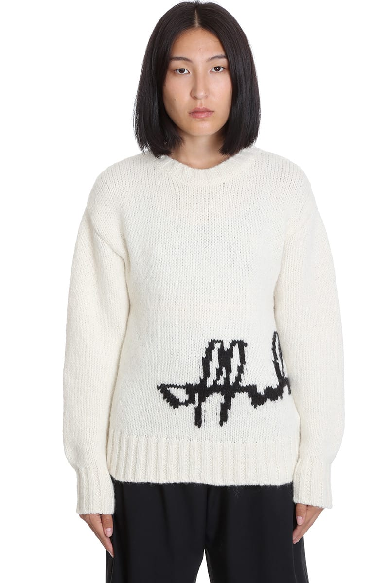 Off-White LOGO INTARSIO KNITWEAR IN WHITE WOOL