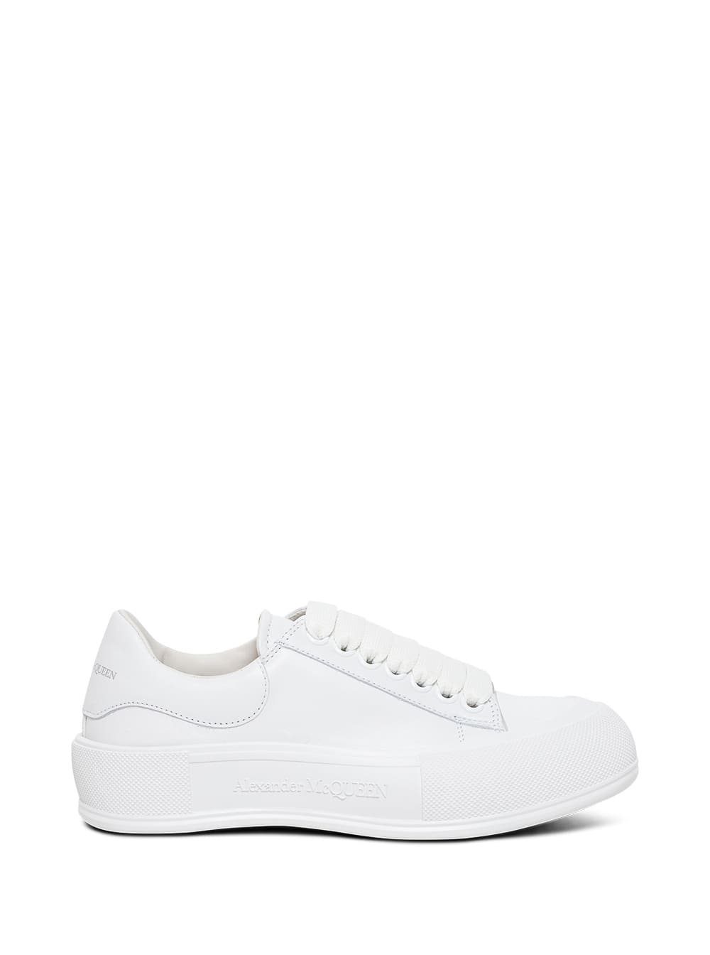 Alexander McQueen White Leather Skate Sneakers With Logo