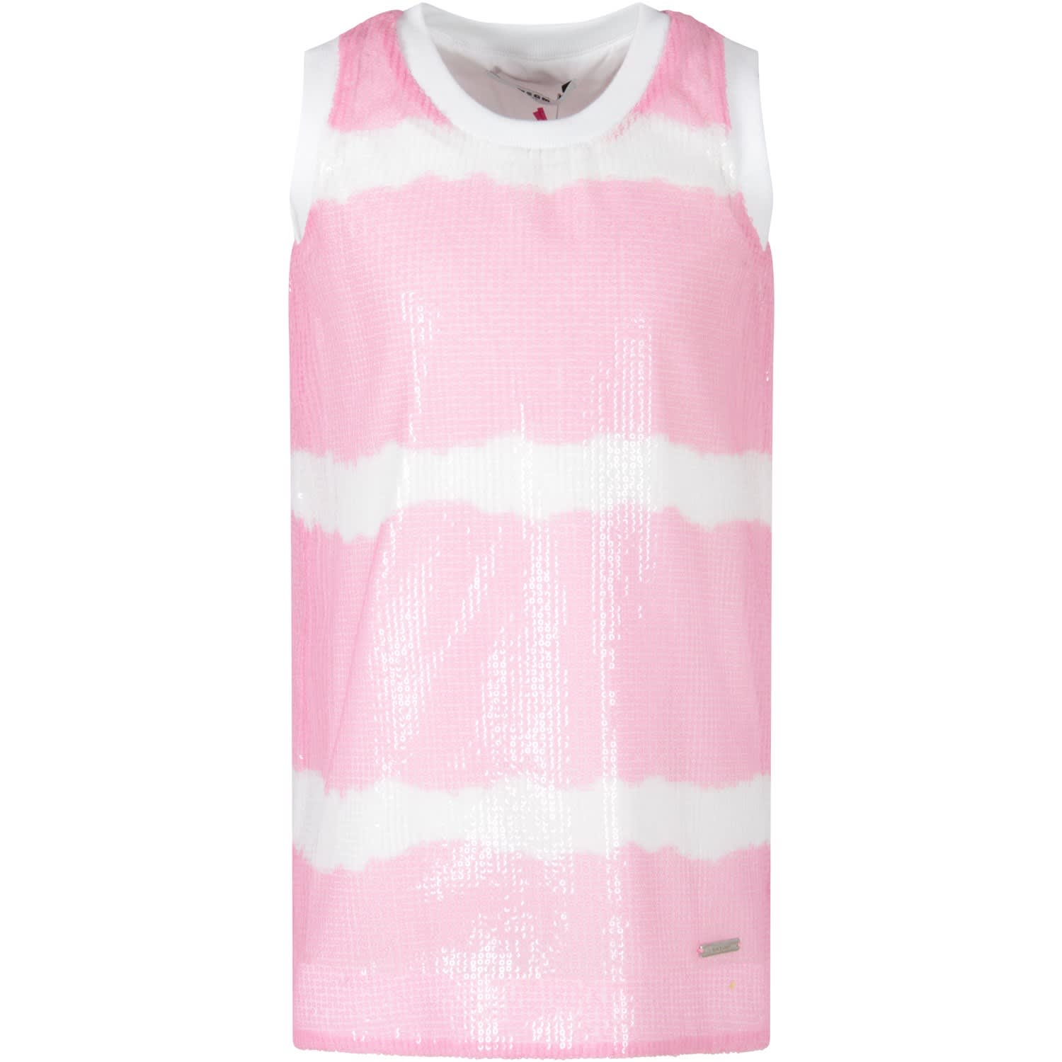Buy MSGM Sequined Dress In Pink And White For Girl online, shop MSGM with free shipping