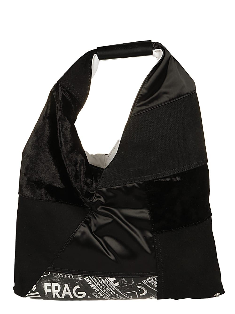 Mm6 Maison Margiela Leathers JAPANESE BAG SMALL PATCHWORK MIX BLACK FABRICS