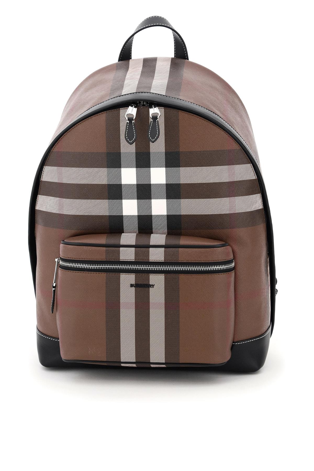 Burberry Jett Tartan Backpack In Check Marrone