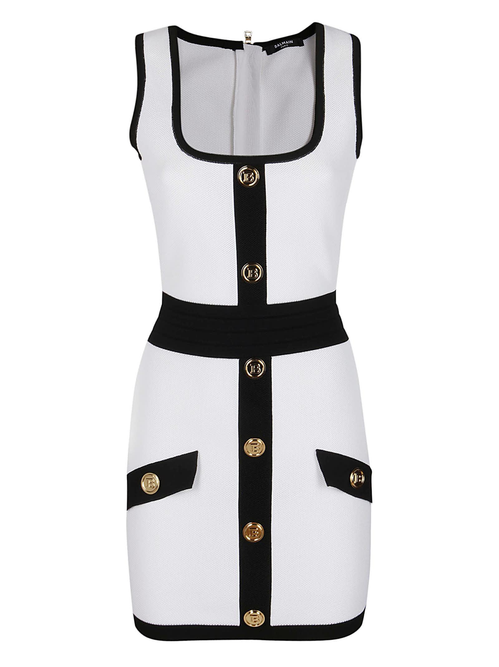 Buy White Viscose Dress online, shop Balmain with free shipping