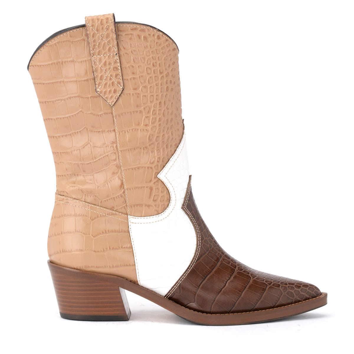 Via Roma 15 Texan Ankle Boot In Brown And White Crocodile Print Leather