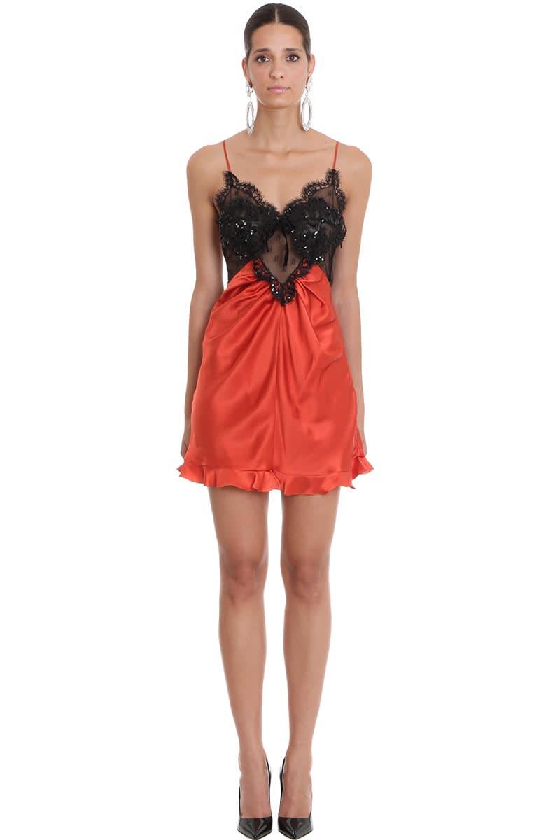 Alessandra Rich Dress In Red Silk