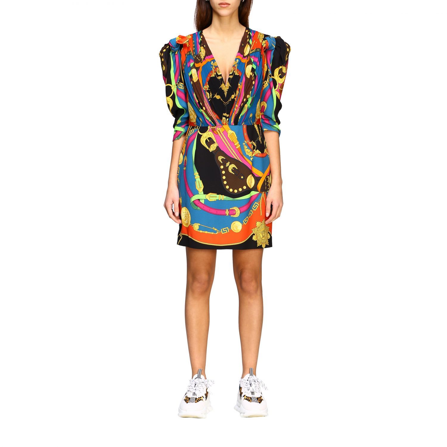 Buy Versace Dress Versace V-neck Dress With Rodeo Print online, shop Versace with free shipping