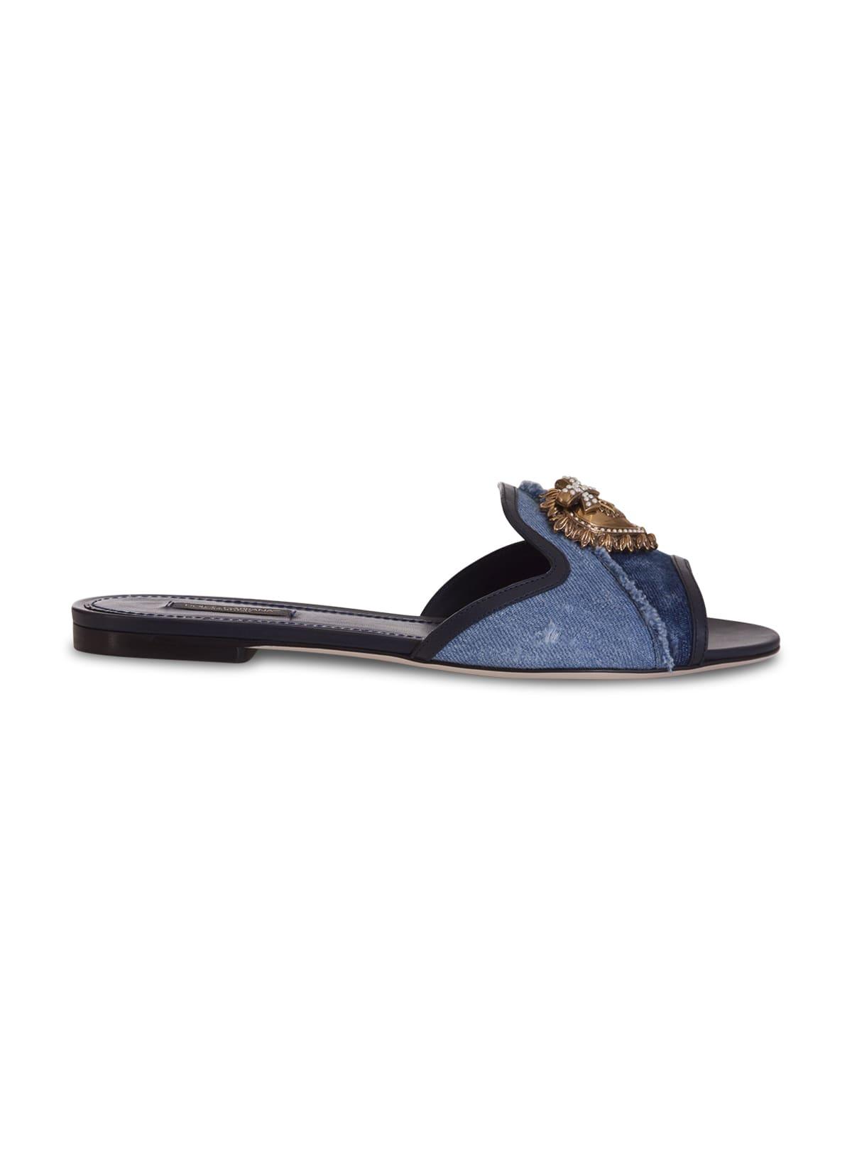 Buy Dolce & Gabbana Devotion Mule In Denim online, shop Dolce & Gabbana shoes with free shipping