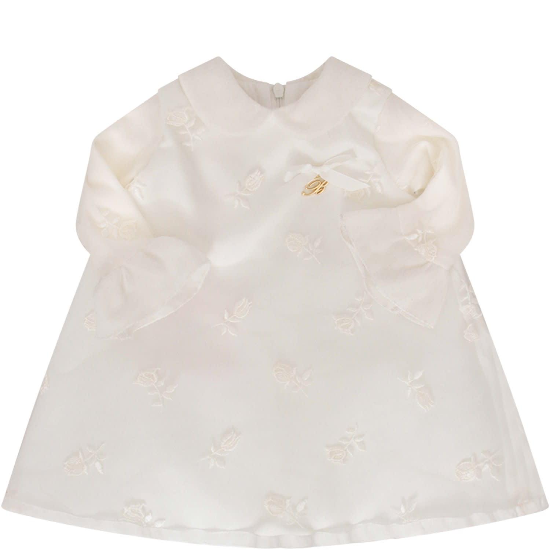 Blumarine Ivory Dress With Gold Metallic Logo