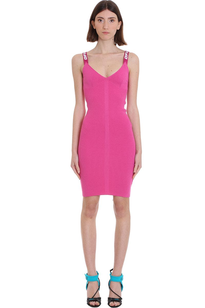 Buy Off-White Knit Industrial Dress In Fuxia Viscose online, shop Off-White with free shipping