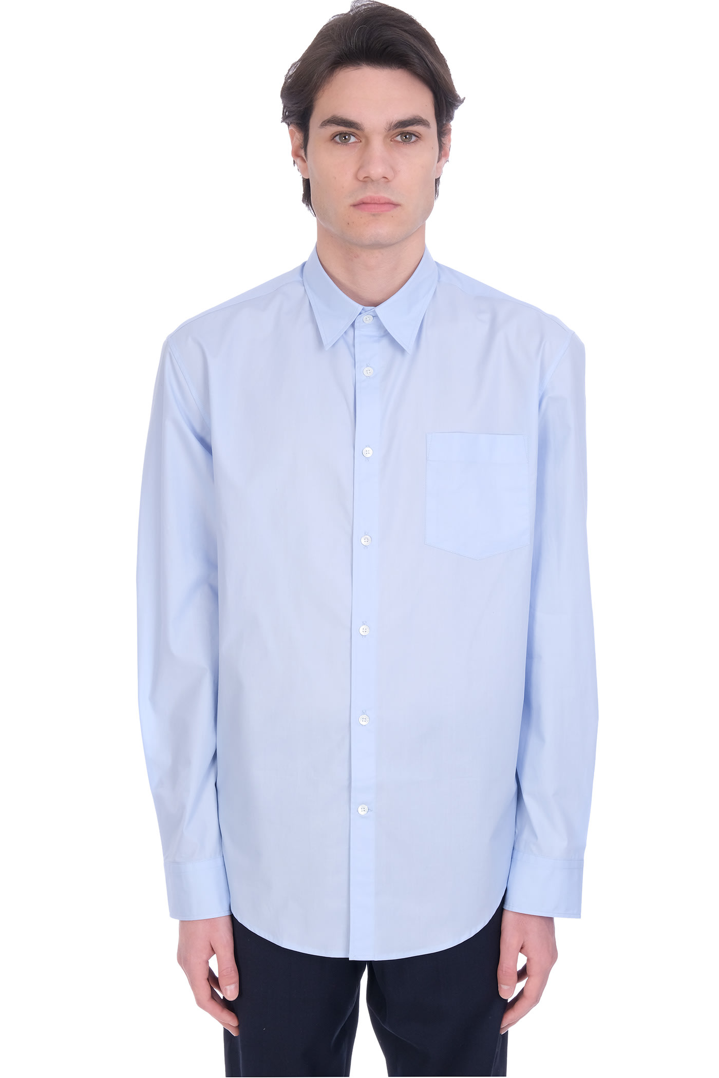 Shirt In Cyan Cotton
