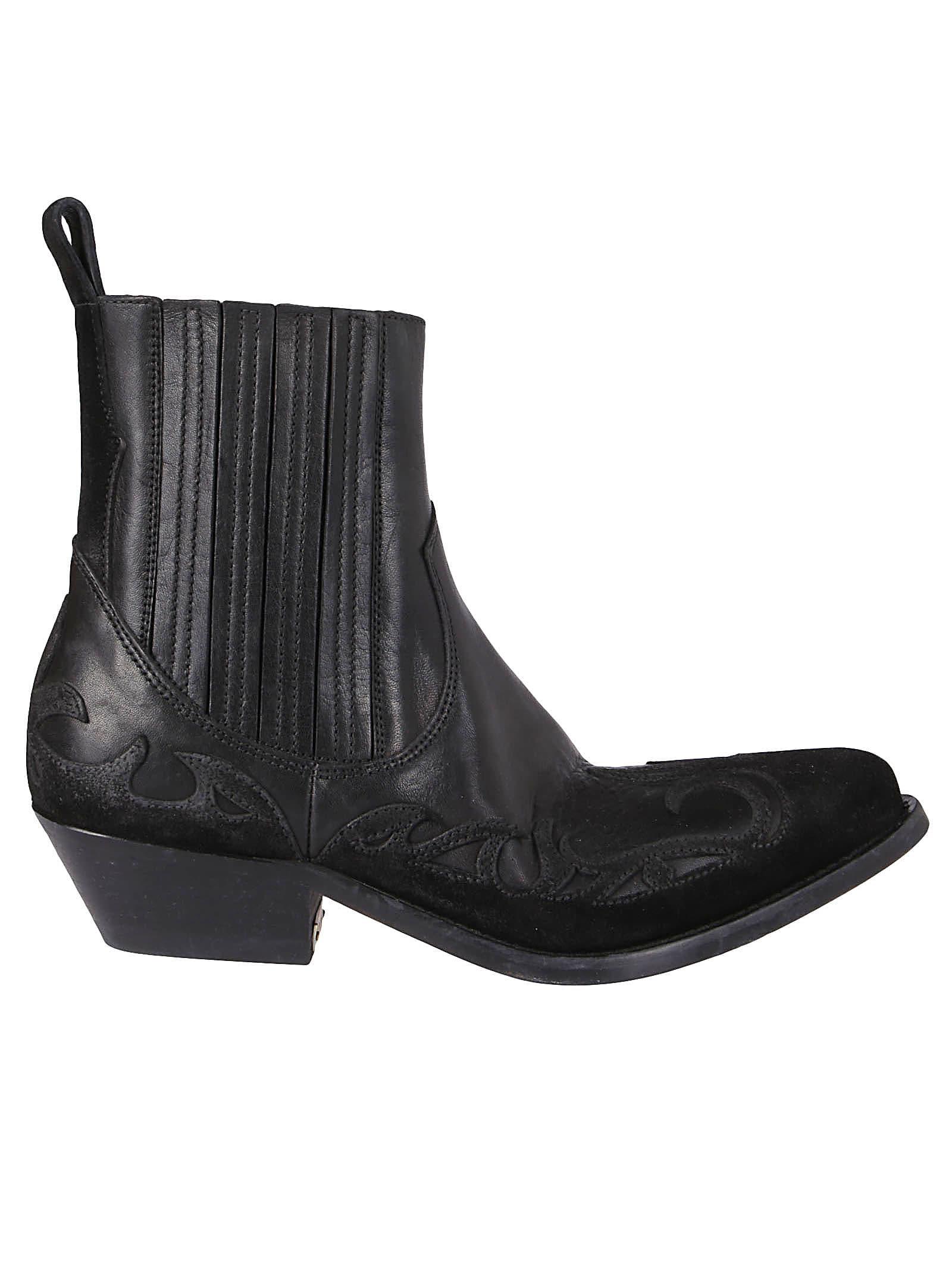Golden Goose Black Leather Santiago Boots