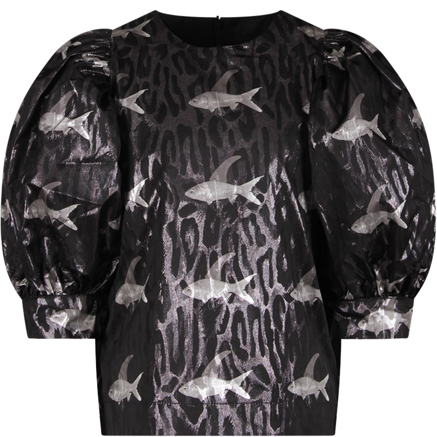 Black Blouse For Girl With Colorful Fishes