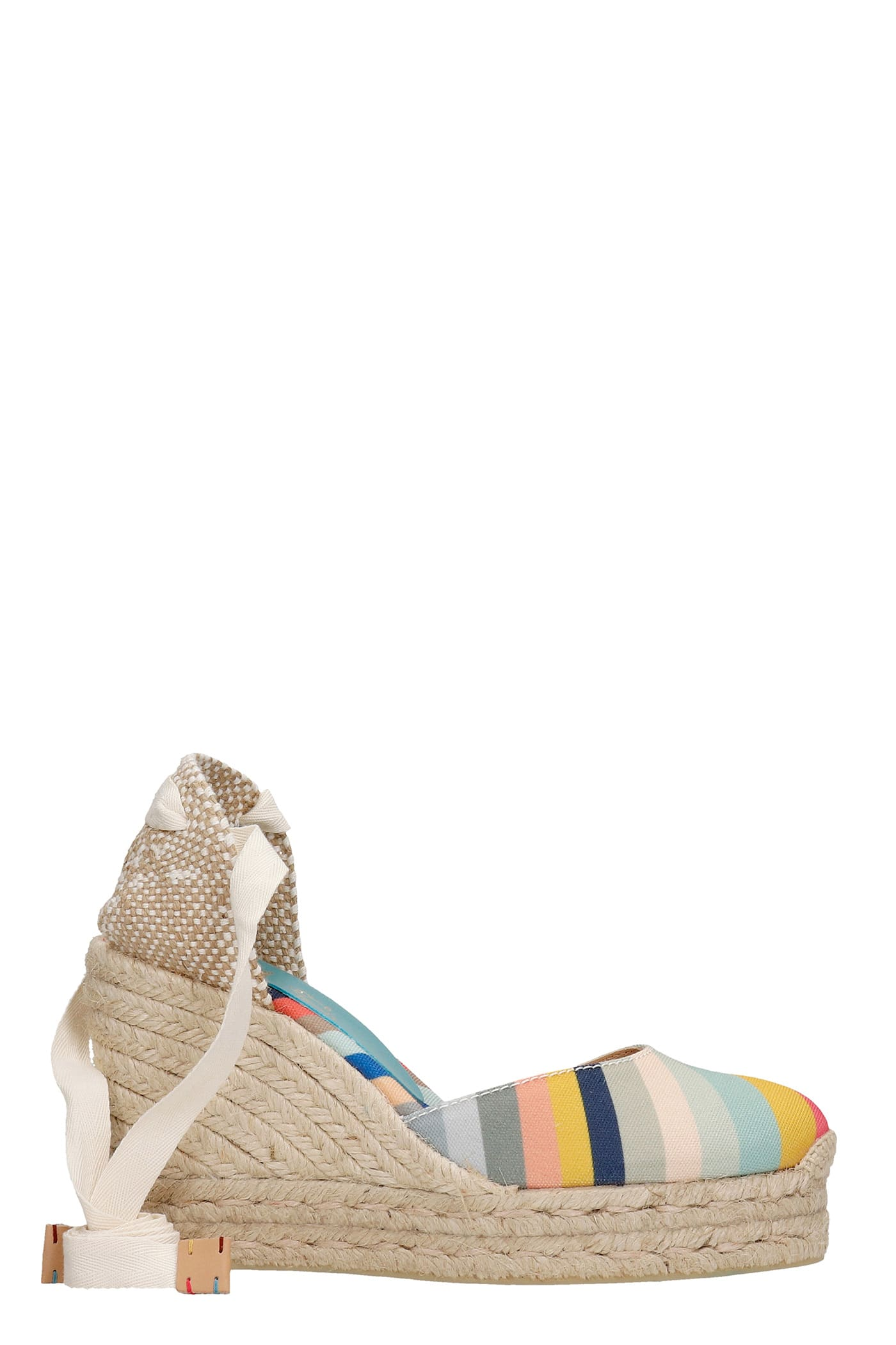 Carina Ps 042 Wedges In Beige Canvas