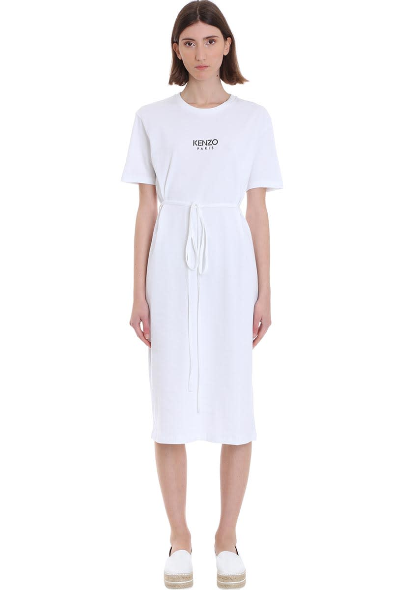 Buy Kenzo Dress In White Cotton online, shop Kenzo with free shipping