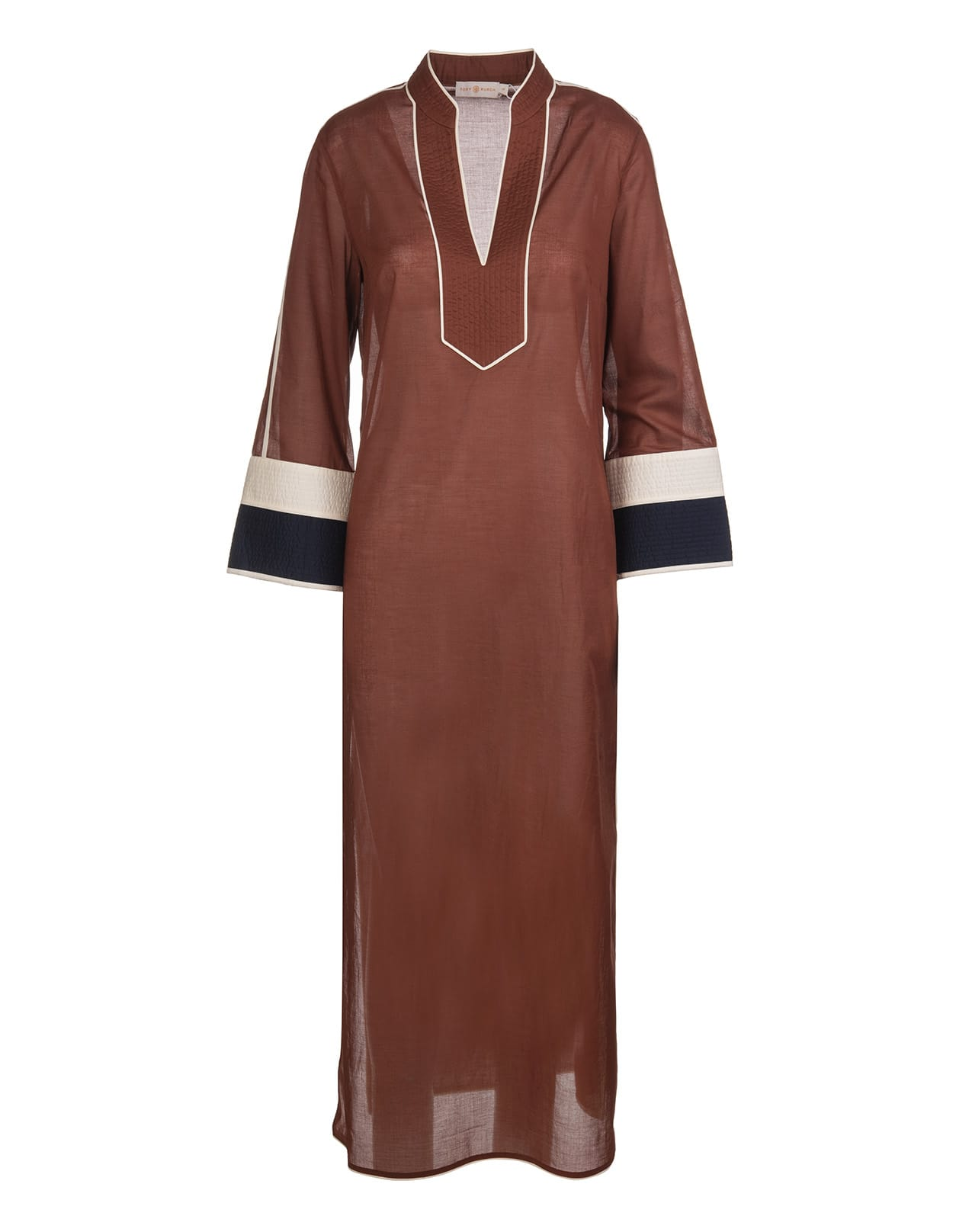 Buy Tory Burch Brown Long Kaftan With Contrast Finishes online, shop Tory Burch with free shipping