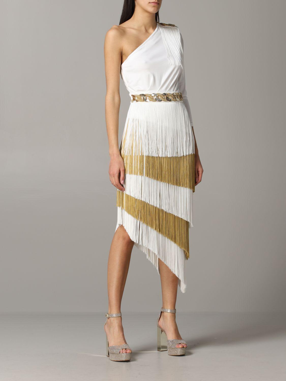 Buy Elisabetta Franchi Dress Elisabetta Franchi One-shoulder Dress With Fringes online, shop Elisabetta Franchi Celyn B. with free shipping