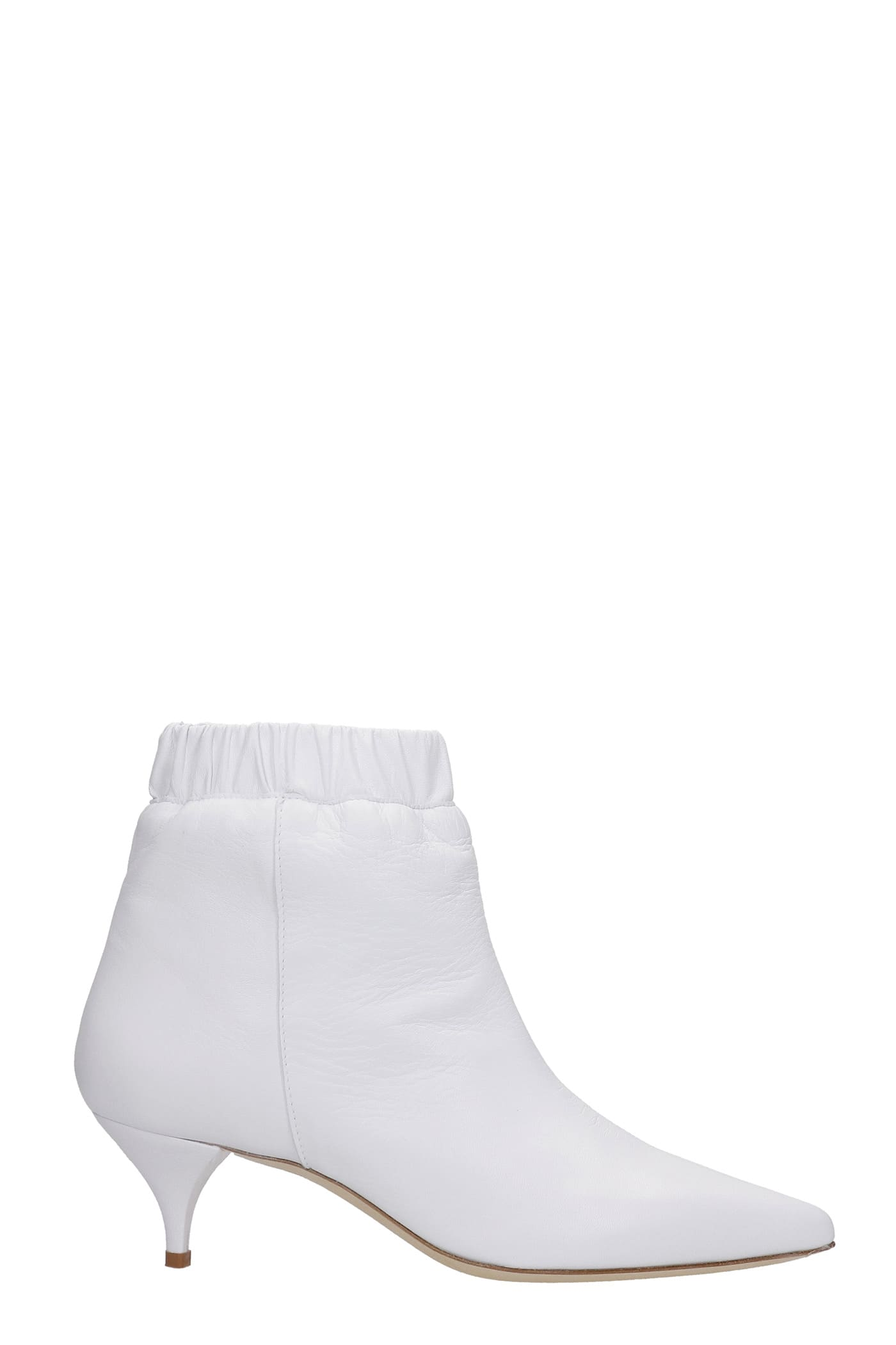 Low Heels Ankle Boots In White Leather