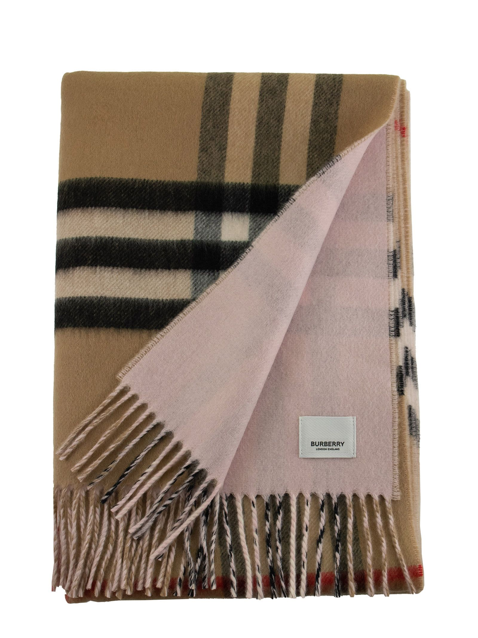 Burberry Scarves REVERSIBLE CHECK CASHMERE SCARF GNT CHK FROST