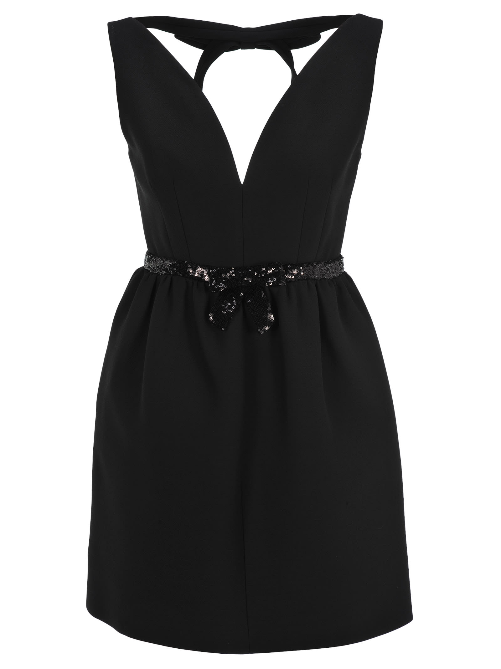 Miu Miu Sequin-embellished Belted Mini Dress