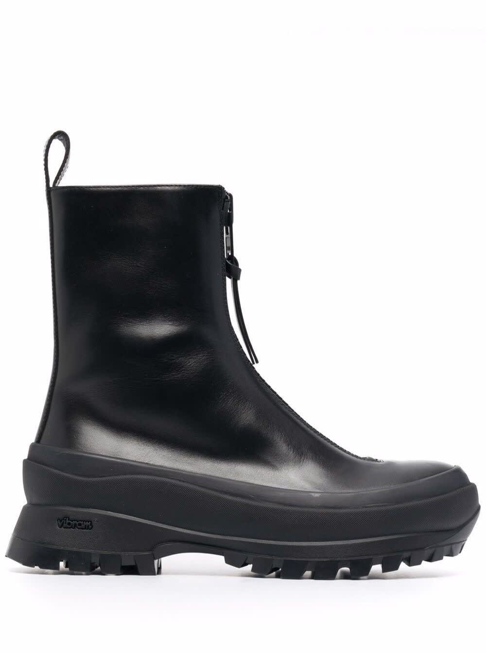 Buy Jil Sander Boston Boots In Black Leather online, shop Jil Sander shoes with free shipping