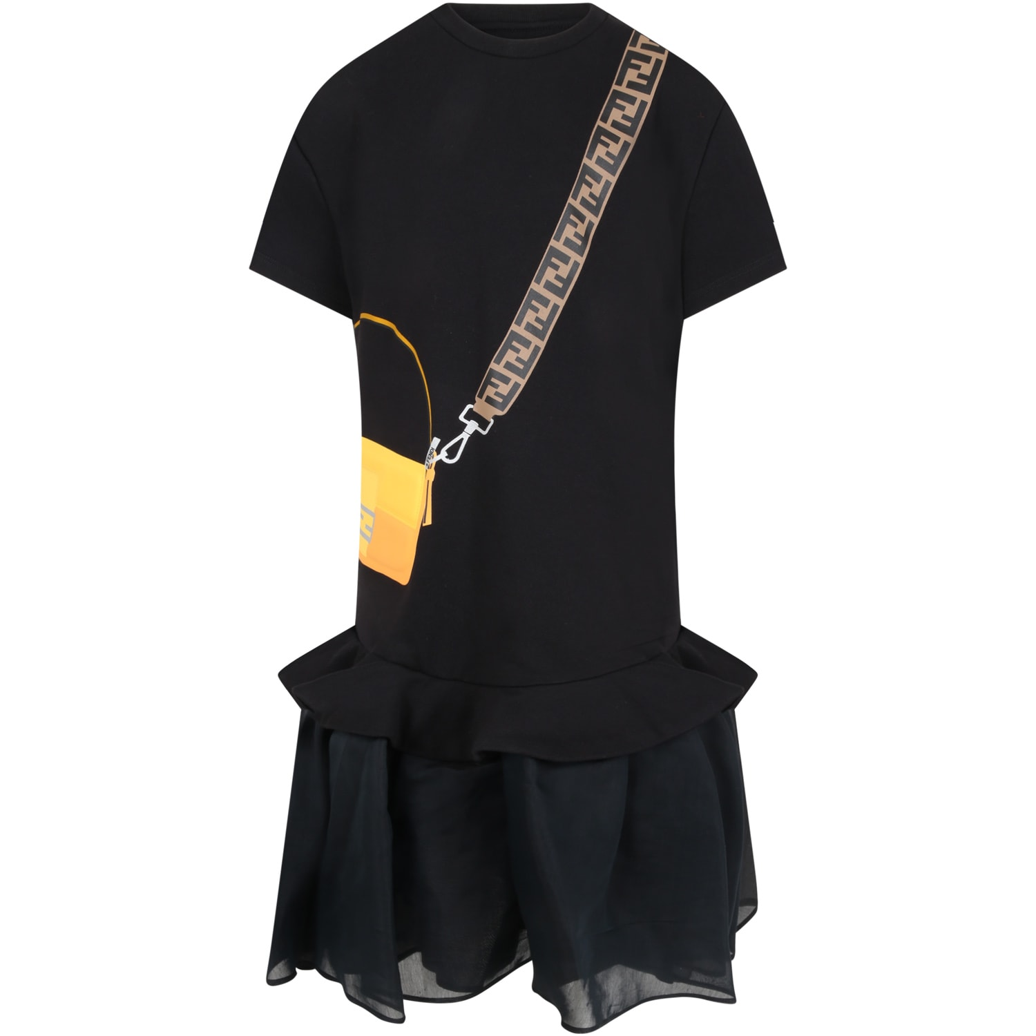 Fendi BLACK DRESS FOR GIRL WITH BAG