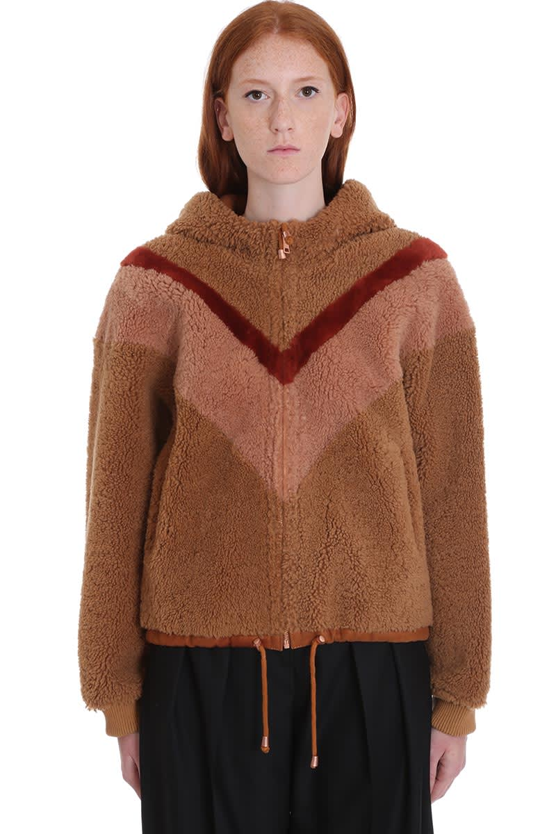 See by Chloé Leather Jacket In Brown Wool And Leather