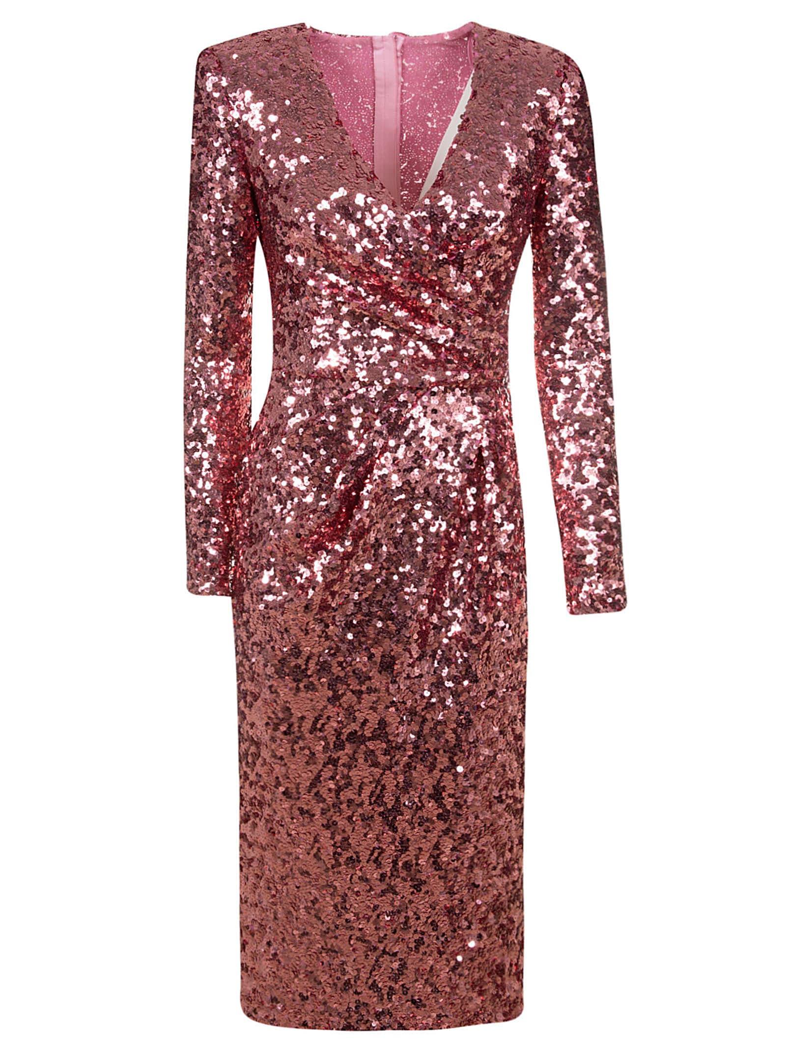 Buy Dolce & Gabbana Metallic Gathered Slim Dress online, shop Dolce & Gabbana with free shipping