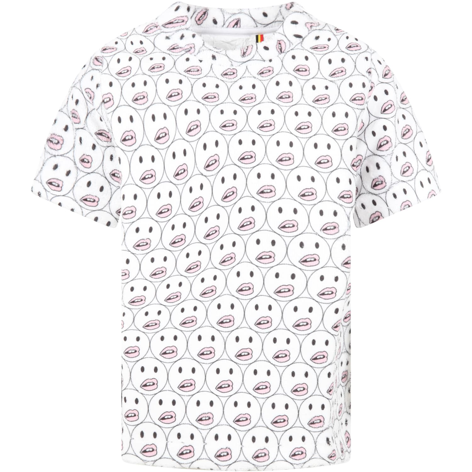 White T-shirt For Girl With Smileys