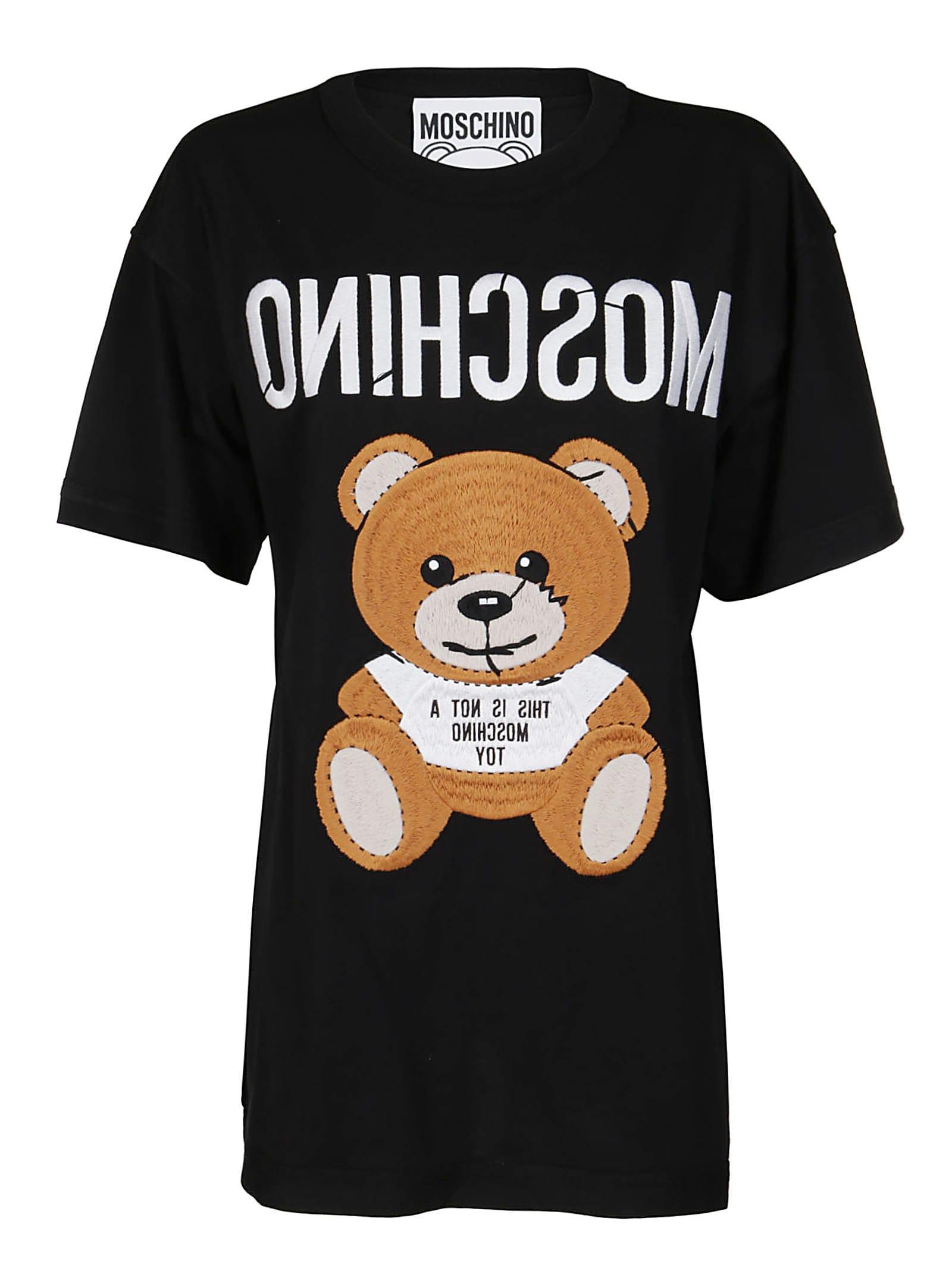 Moschino BLACK COTTON TEDDY T-SHIRT