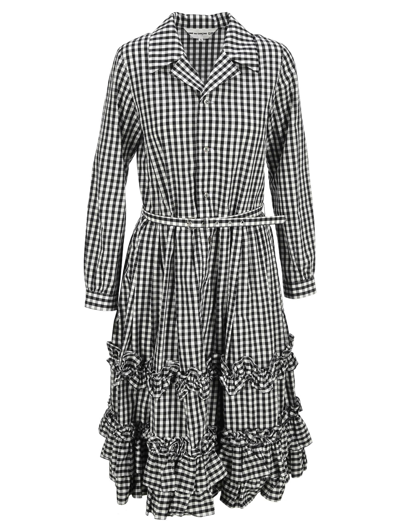 Buy Comme Des Gar?ns Girl Check Ruffle Shift Dress online, shop Comme Des Gar?ns Girl with free shipping
