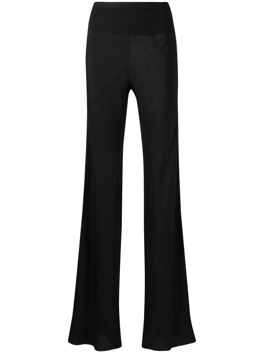 Rick Owens Flared pants BLACK FLARED TROUSERS IN SILK BLEND