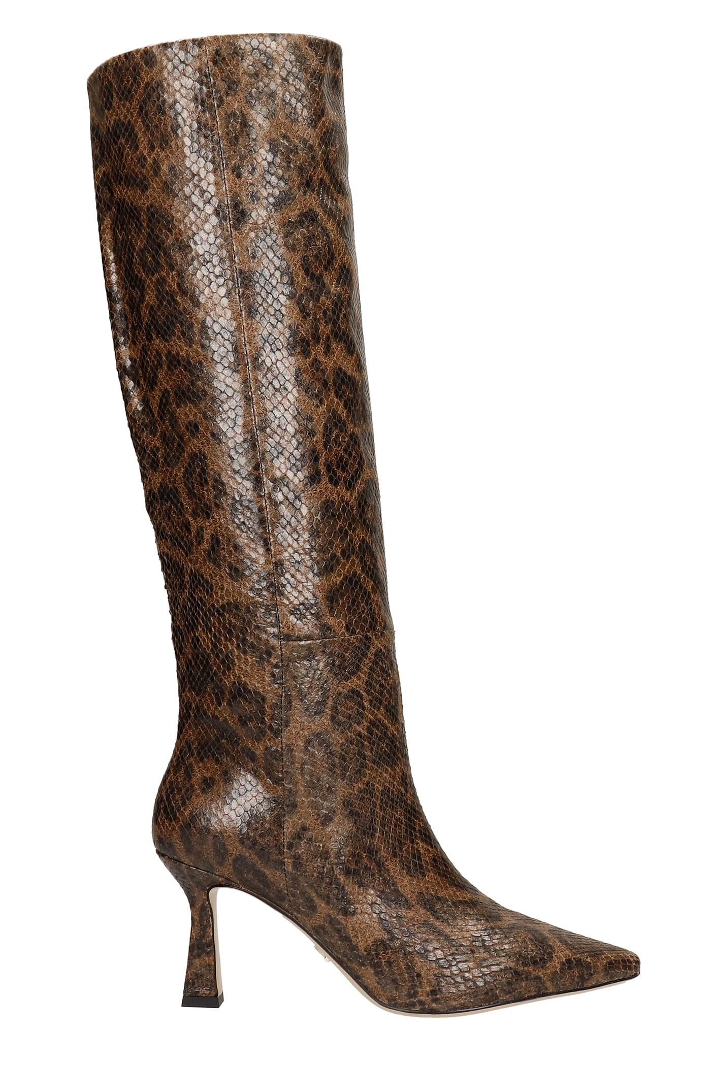 High Heels Boots In Brown Leather